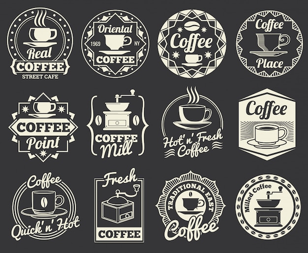 Vintage coffee shop and cafe logos, badges and labels. Premium Vector