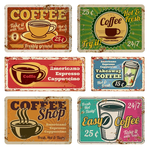Vintage coffee shop and cafe metal vector banners in old 1940s style Premium Vector