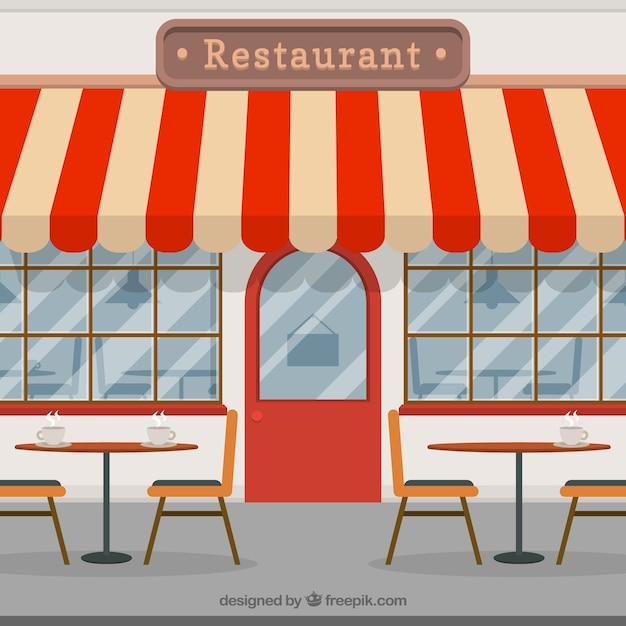 Vintage coffee shop in flat style Free Vector