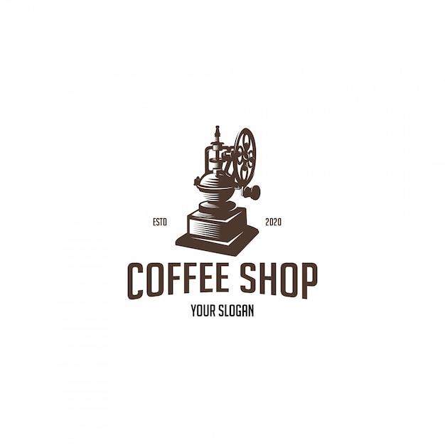古いグラインダーとビンテージコーヒーショップ Premiumベクター