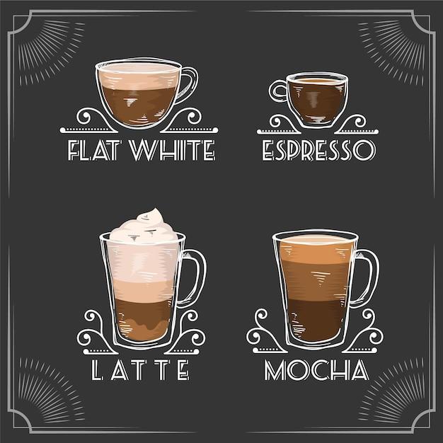 Винтажные сорта кофе Бесплатные векторы