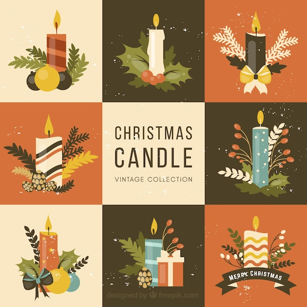 Vintage Christmas Candles.Vintage Collection Of Christmas Candles Vector Free Download