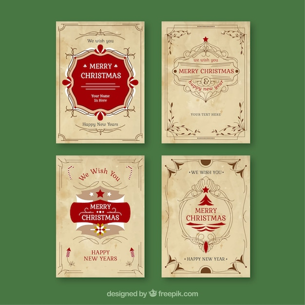 Vintage Collection Of Christmas Cards Free Vector