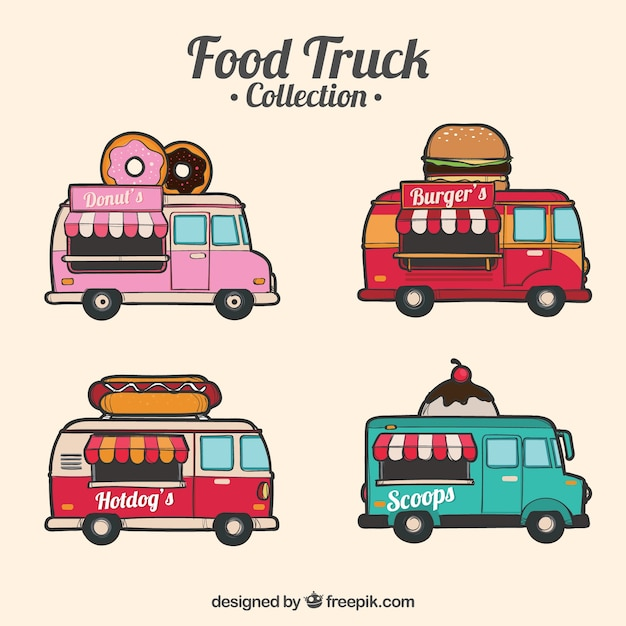 Vintage collection of hand drawn food trucks