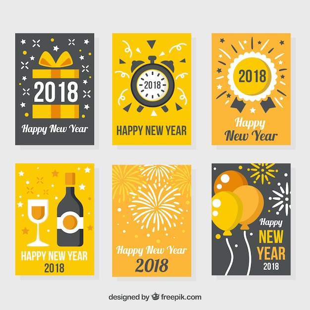 Vintage collection of new year cards in yellow and grey