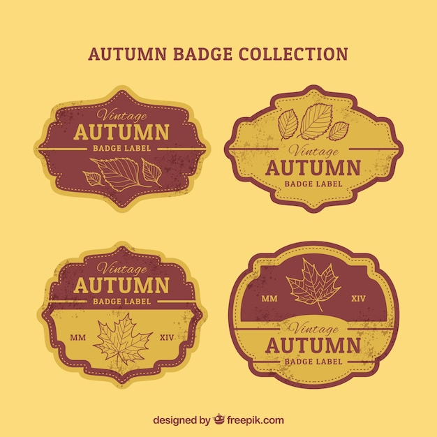 Vintage collection of retro autumnal badges