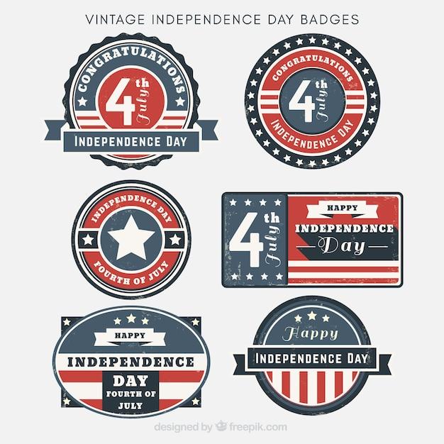 미국 독립 기념일 배지 빈티지 컬렉션 무료 벡터