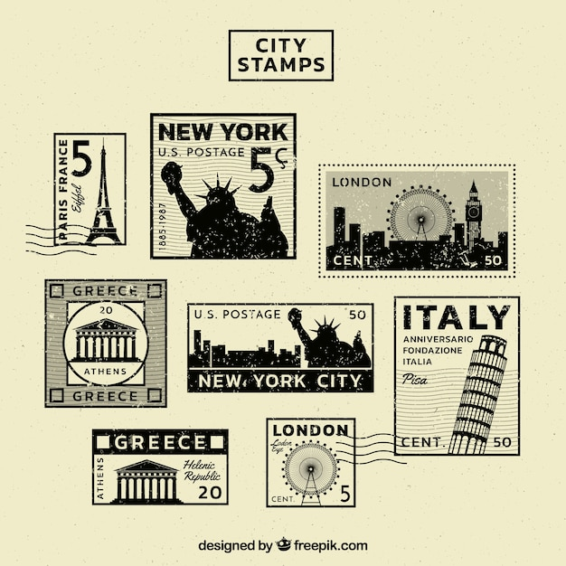 Vintage collection of stamps of different cities Premium Vector