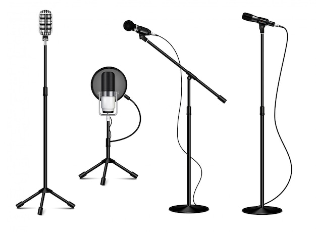 Vintage collection of standing professional microphones with wire on white background in realistic style isolated  illustration Free Vector