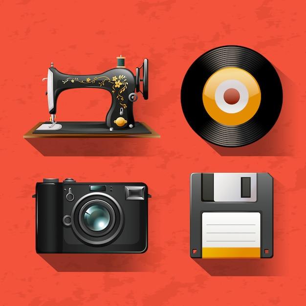 Винтажные коллекции со швейной машиной и дисками Бесплатные векторы
