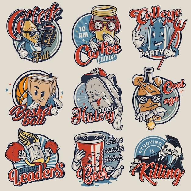 Set di emblemi del college vintage Vettore gratuito