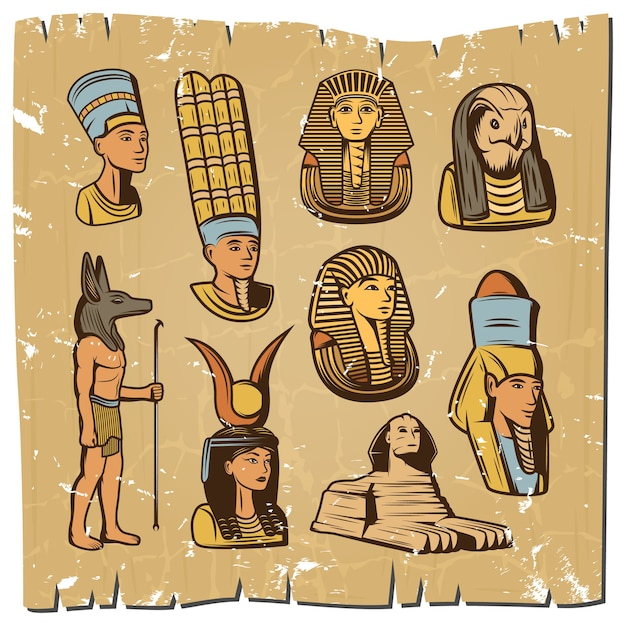 Vintage colored ancient egyptian elements collection Free Vector