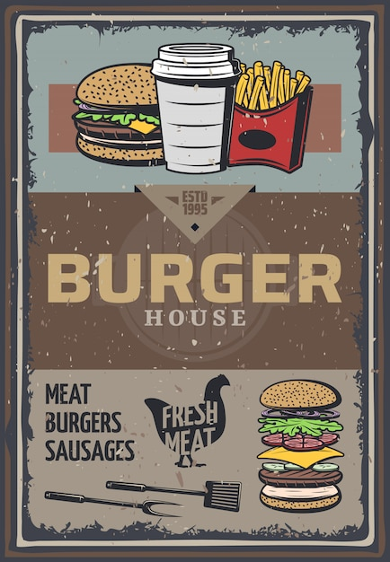 Vintage colored burger house poster with inscription hamburger cheeseburger soda french fries cooking utensils Free Vector