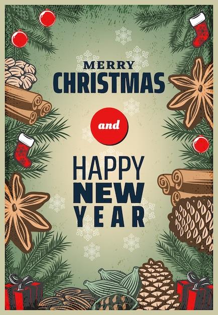 ヴィンテージ色のクリスマススパイスポスター 無料ベクター