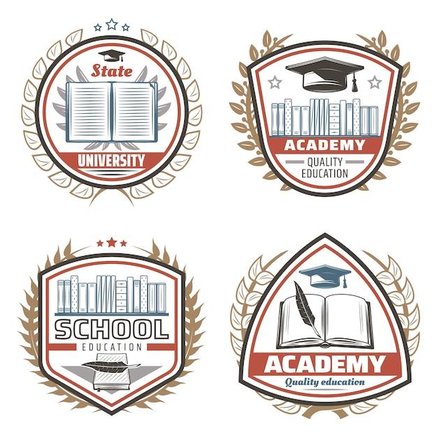 Винтажные цветные образовательные эмблемы с надписями, книжная полка, выпускная крышка, перо, цветочные венки, изолированные Бесплатные векторы