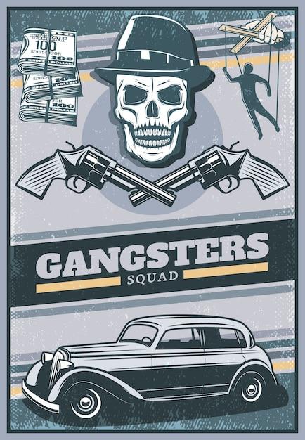 Manifesto di gangster colorato vintage con teschio che indossa cappello mafia auto soldi incrociati mano revolver con burattino Vettore gratuito