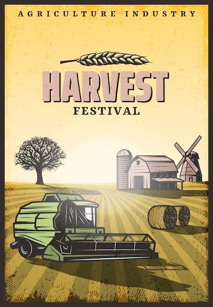 Vintage poster di raccolta colorata con iscrizione combina il mulino a vento del granaio delle balle di fieno e l'albero sul campo Vettore gratuito