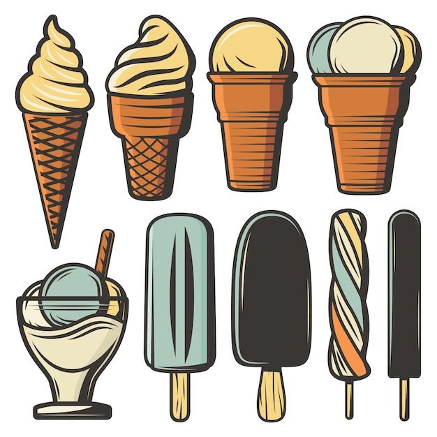 Vintage colored ice creams set Free Vector