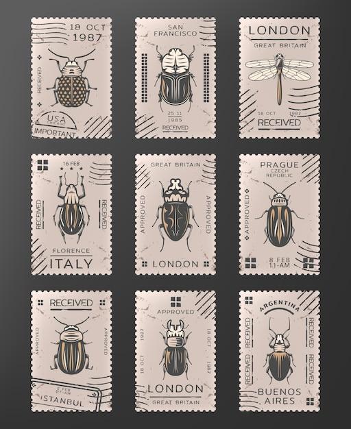 ヴィンテージ色の昆虫スタンプセットのトンボのバグとカブトムシの種類 無料ベクター