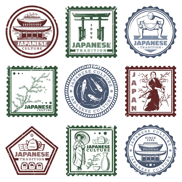 Vintage colored japan stamps set with traditional tea party building sakura geisha samurai fish sumo player isolated Free Vector