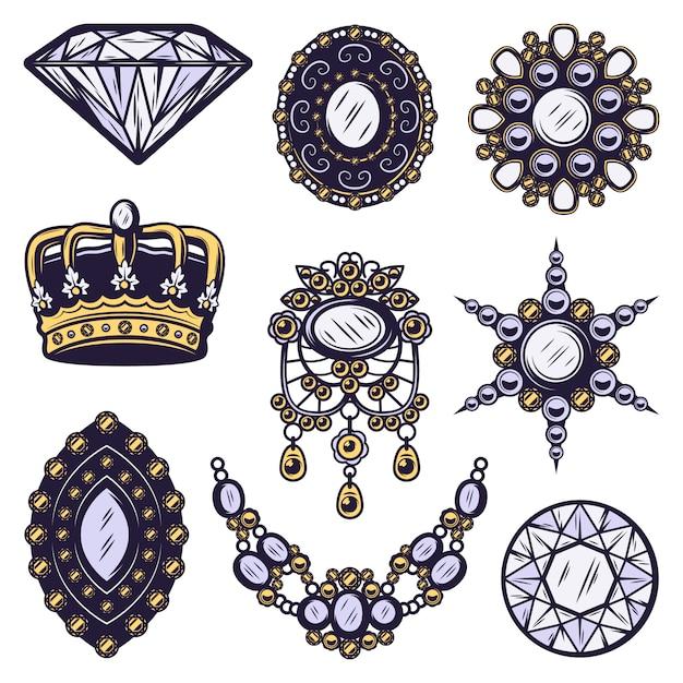 Insieme di elementi di gioielli colorati vintage Vettore gratuito