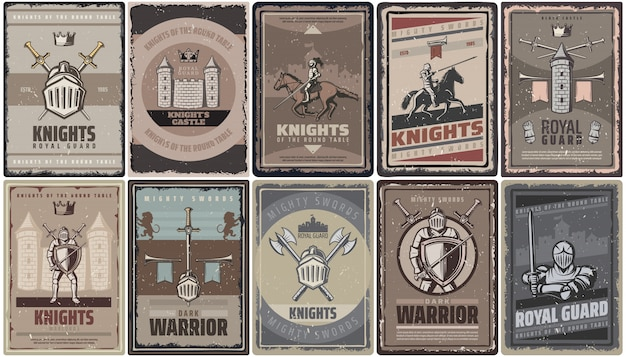 Poster vintage cavalieri medievali colorati con guerrieri spade elmo castello fortezza assi torre trombe isolate Vettore gratuito