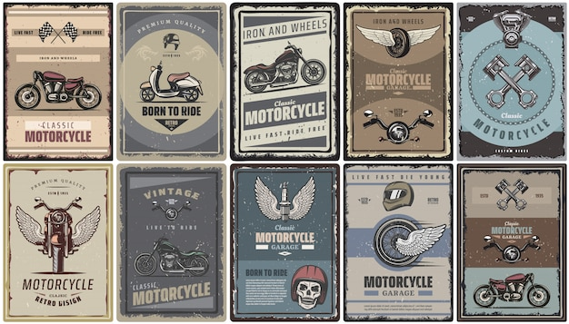 Vintage colored motorcycle posters set with classic motorbikes scooter moto parts Free Vector