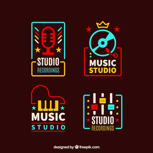 Vintage colored music logotypes pack Free Vector