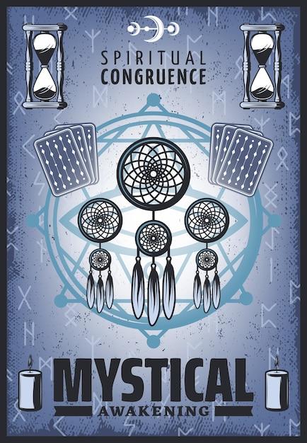 Винтажный цветной мистический плакат с духовными украшениями, карты таро, песочные часы, рунические буквы, свечи и пентаграмма Бесплатные векторы