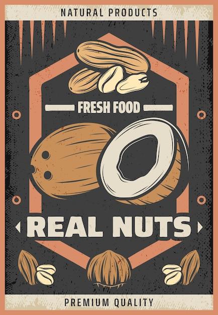 Винтажный цветной плакат из натуральных свежих орехов с надписью кокос, арахис, миндаль и лесной орех Бесплатные векторы