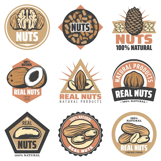 Vintage colored organic food emblems set with inscriptions and different tasty natural nuts isolated Free Vector