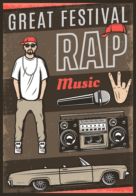 Vintage colored rap music festival poster with inscription rapper car cabriolet boombox microphone hand gesture Free Vector