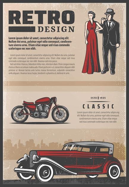Poster retrò colorato vintage con moto d'epoca, bella donna che indossa un abito rosso e pipa gentiluomo Vettore gratuito