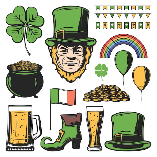 Vintage colored saint patricks day set Free Vector
