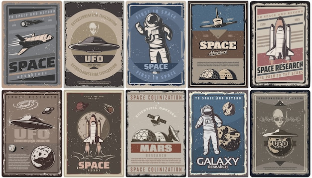 Poster vintage spaziali colorati con astronavi pianeti ufo astronauti asteroidi colonizzazione di marte e ricerca isolata Vettore gratuito