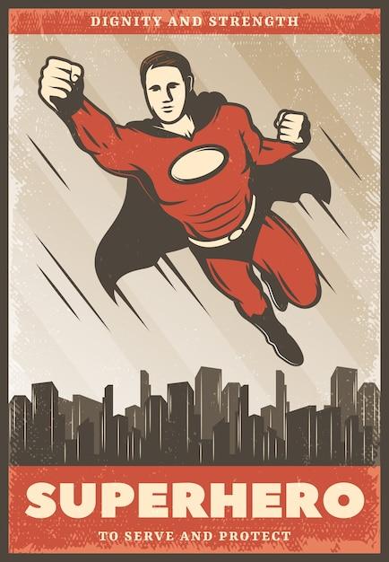 ヴィンテージ色のスーパーヒーローのポスター 無料ベクター