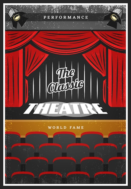 Vintage colored theatre advertising poster Free Vector