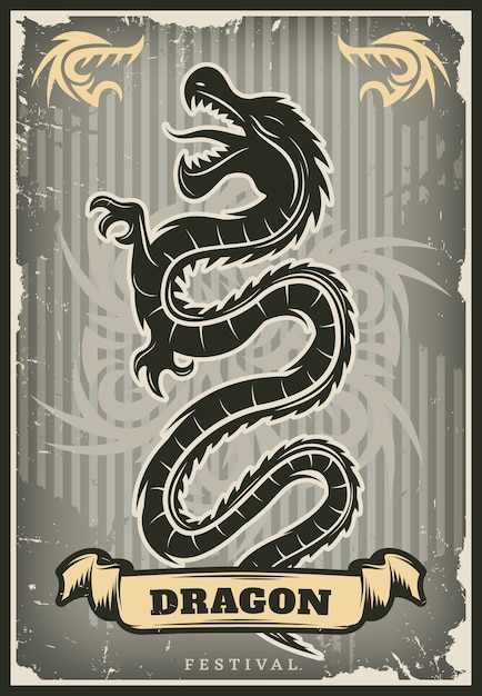 Vintage colored traditional asian dragon poster Free Vector