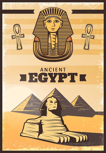 Vintage colored travel egypt poster Free Vector