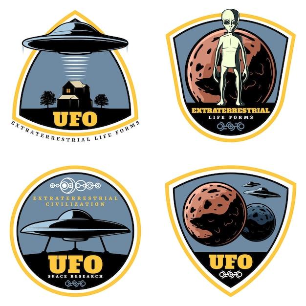 Set di emblemi ufo colorati vintage Vettore gratuito