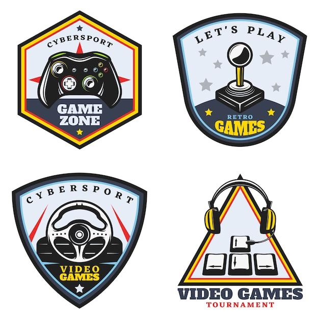 Набор старинных цветных видеоигр эмблемы Бесплатные векторы