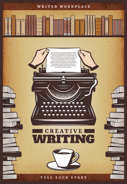 Vintage colored writer poster with hands insert paper in typewriter coffee cup books and bookshelf Free Vector