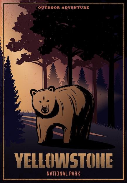 Винтаж цветной плакат национального парка йеллоустоун с надписью и медведем на лесном пейзаже Бесплатные векторы