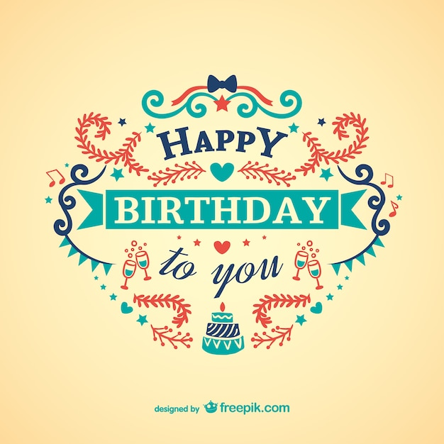 Vintage colorful birthday card vector free download vintage colorful birthday card free vector bookmarktalkfo Image collections
