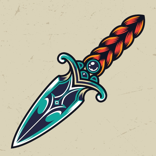 Vintage colorful dagger concept Free Vector