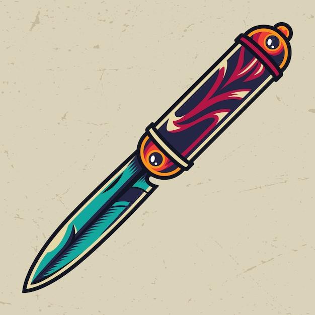Старинный красочный элегантный карманный нож Бесплатные векторы