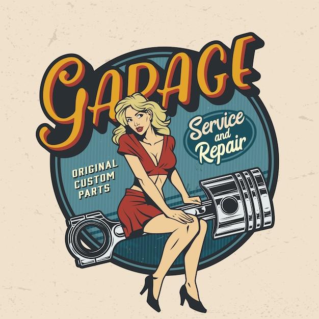 Distintivo di servizio di riparazione garage colorato vintage Vettore gratuito