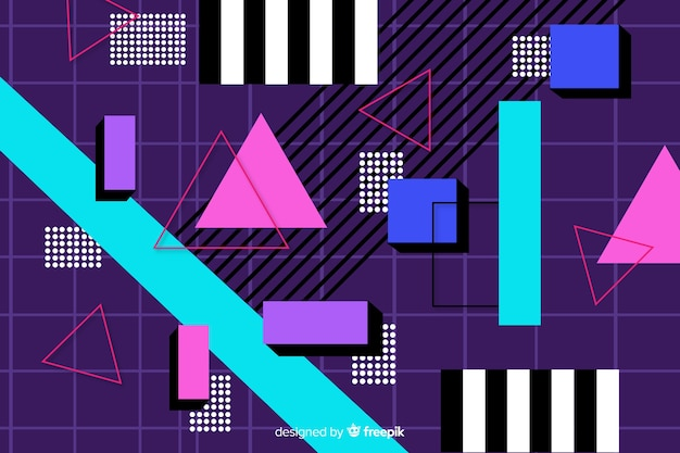 Vintage colorful geometric shape background Free Vector