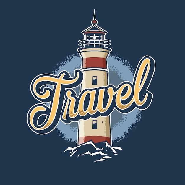Vintage colorful lighthouse illustration Free Vector