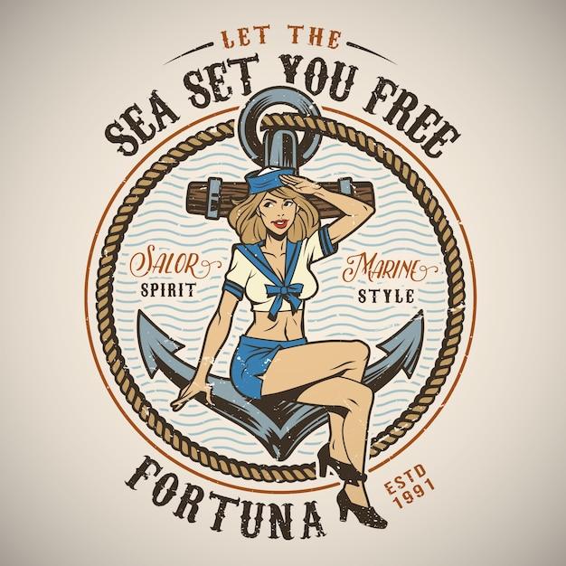 Logo marino colorato vintage Vettore gratuito